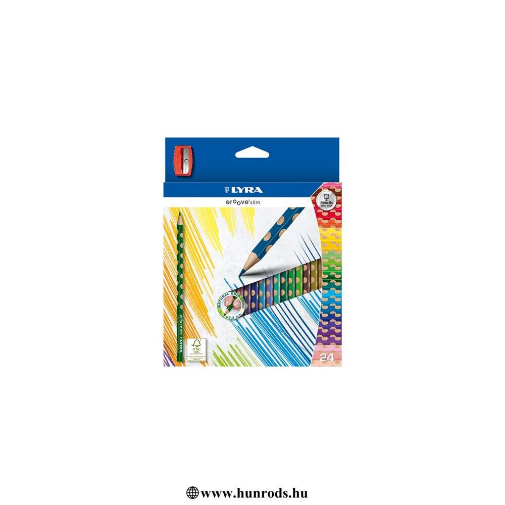 Színes ceruza 24-es (+hegyező) Groove Slim, LYRA