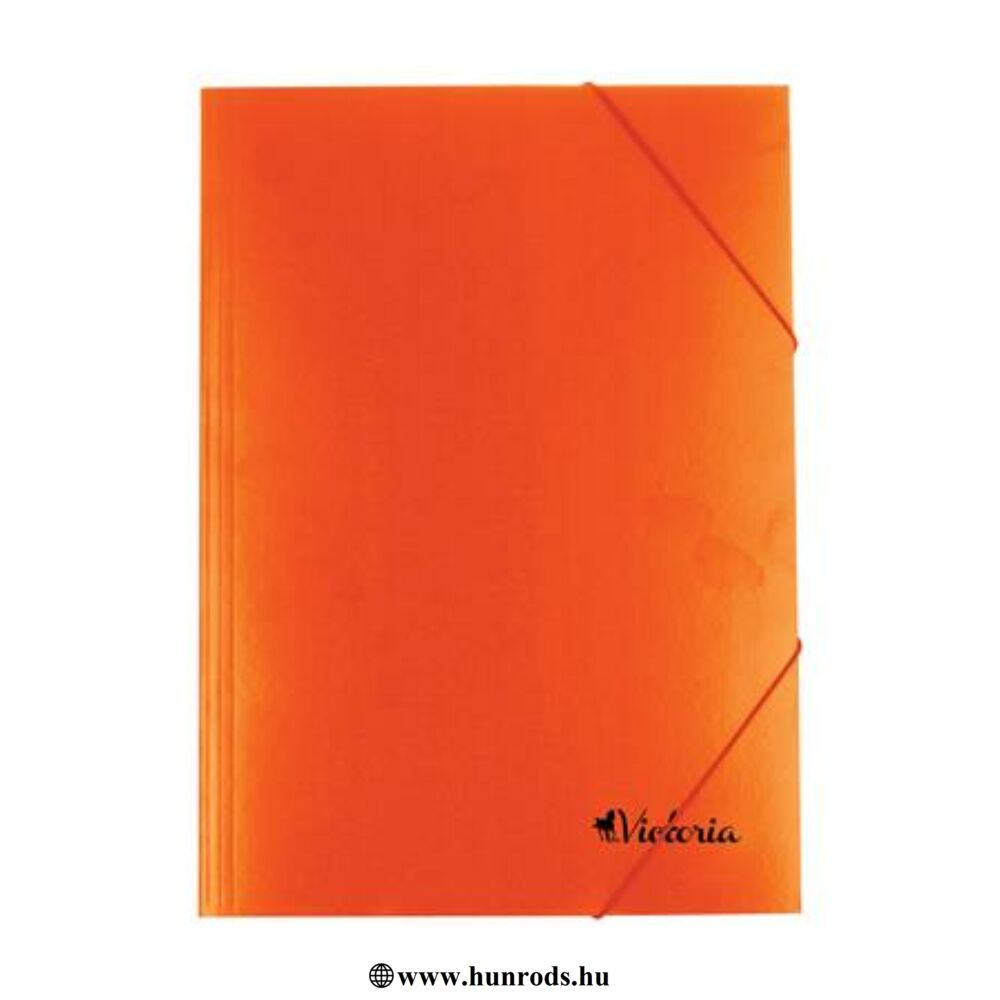 Gumis mappa, karton, A4, VICTORIA, narancs