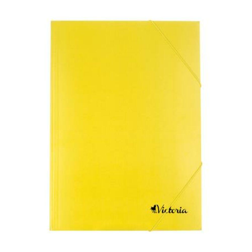 Gumis mappa, karton, A4, VICTORIA, sárga