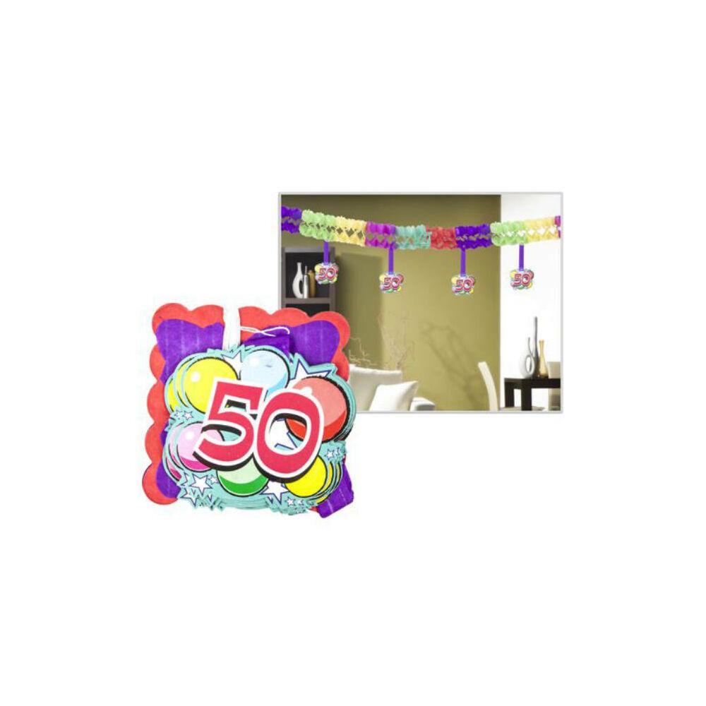 Számos girland születésnapra 400x12x12cm, 12 db függő számmal
