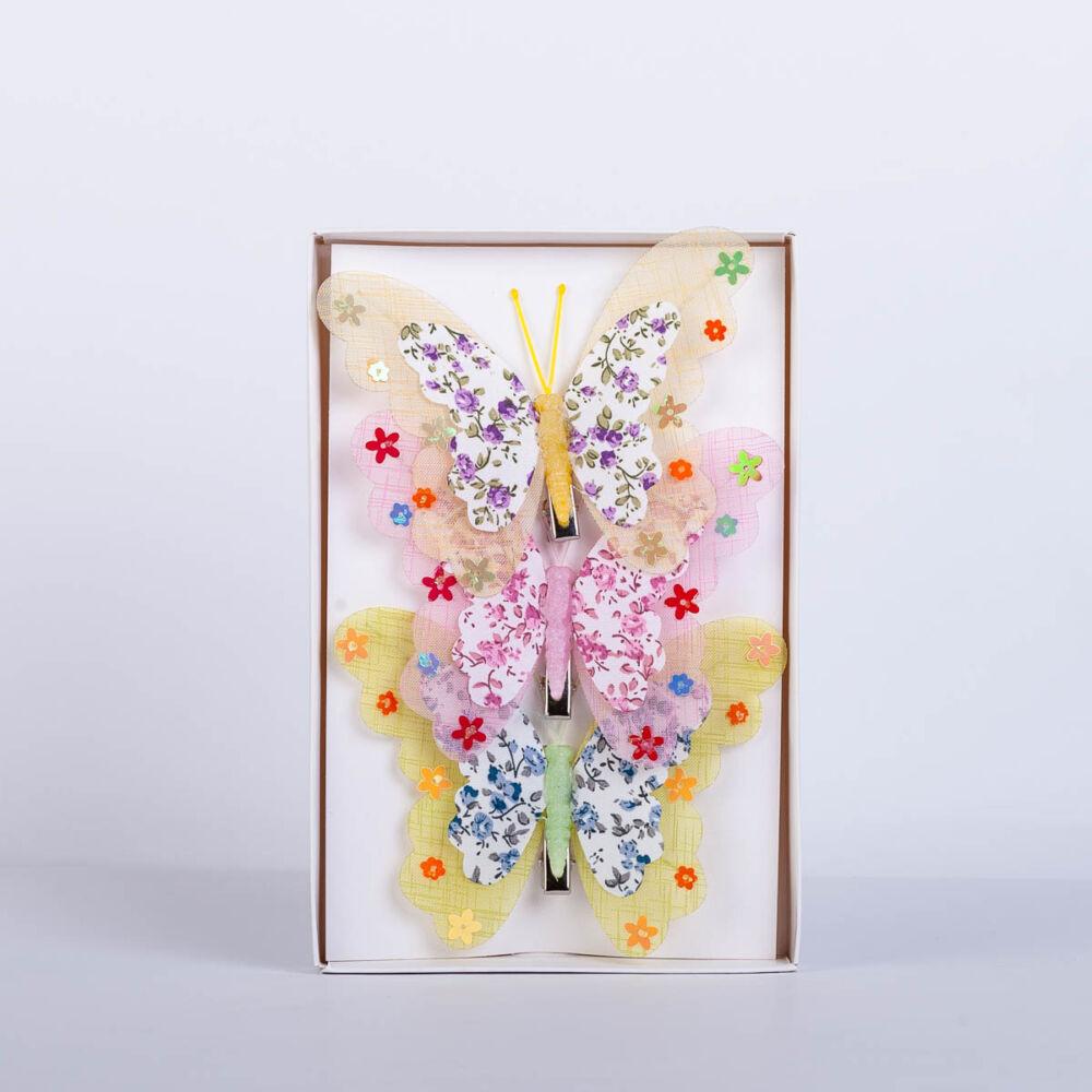 Dekorációs pillangó csipesszel nagy virágmintás nyomattal (3 db) QT792503