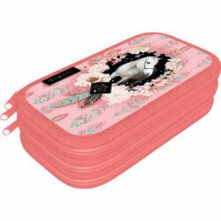Kép 1/2 - Tolltartó textil 3 emeletes Wild Beauty Rose lovas
