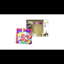 Kép 5/6 - Számos girland születésnapra 400x12x12cm, 12 db függő számmal