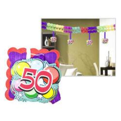 Kép 6/6 - Számos girland születésnapra 400x12x12cm, 12 db függő számmal
