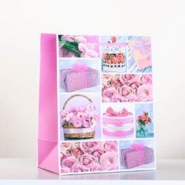 Rózsaszín-többféle virággal