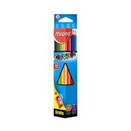 """Színes ceruza készlet, háromszögletű, hegyezővel, MAPED """"Color`Peps"""", 12 különböző szín"""