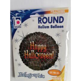 46 cm.-es Happy Halloween feliratos,pókhálós,hologramos fólia lufi