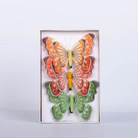 Dekorációs pillangó csipesszel nagy (3 db) QT792497