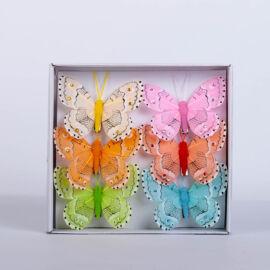 Dekorációs vászon pillangó csipesszel (6 db) QT766962