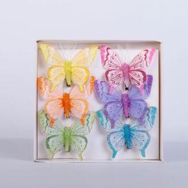 Dekorációs vászon pillangó csipesszel csillámporos (6 db) QT790103
