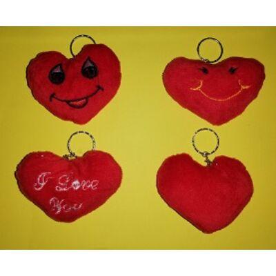 Plüss szív kulcstartó