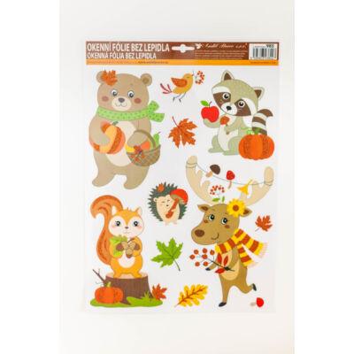 Őszi dekorációs ablakfólia, ablakmatrica állatos motívummal csillámos