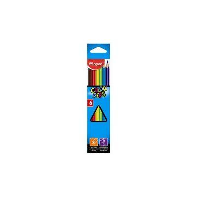 """Színes ceruza készlet, háromszögletű, MAPED """"Color`Peps"""", 6 különböző szín"""