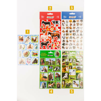 Matrica különböző állatos mintákkal nagy méretű - lovak, kutya, cica