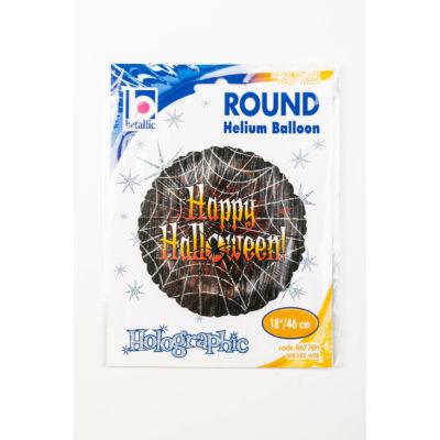 46 cm Happy Halloween feliratos, pókhálós, hologramos fólia lufi