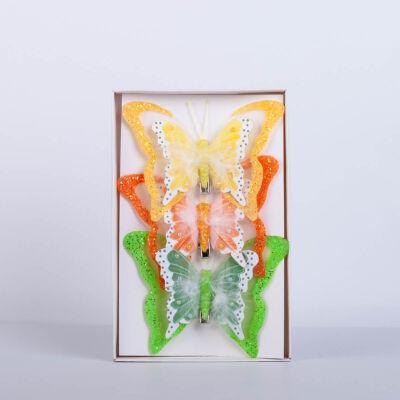 Dekorációs pillangó csipesszel nagy toll díszítéssel (3 db) QT792480