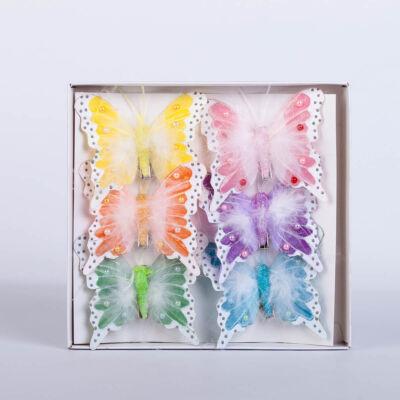 Dekorációs vászon pillangó csipesszel toll díszítéssel (6 db) QT792442
