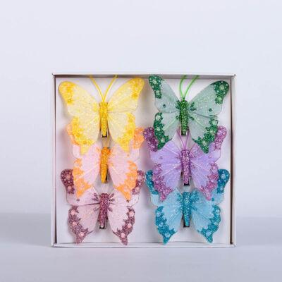 Dekorációs vászon pillangó csipesszel csillámporos (6 db) QT792459