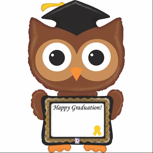 117 cm-es Happy Graduation! baglyos írható fólia lufi