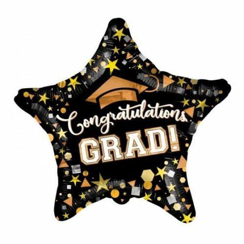 Fólia lufi ballagásra Congratulations Grad fekete csillag