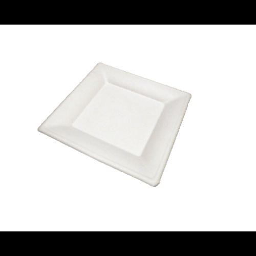China cukornád szögletes papírtányér 200 mm fehér