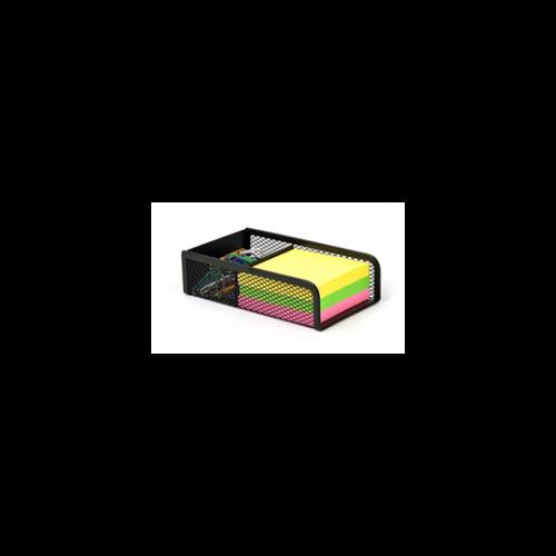 Kockatömbtartó és gemkapocstartó, fémhálós, VICTORIA, fekete