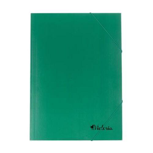 Gumis mappa, karton, A4, VICTORIA, zöld