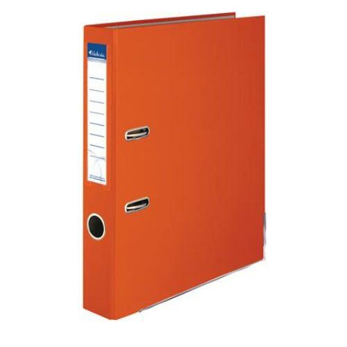 """Iratrendező, 50 mm, A4, PP/karton, élvédő sínnel, VICTORIA, """"Basic"""", narancs"""