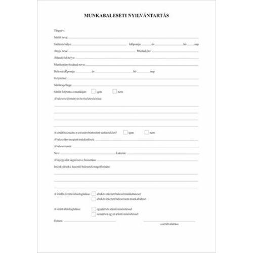 Nyomtatvány, munkabaleseti nyilvántartó napló, 32 oldal,  A4, VICTORIA