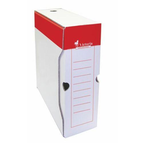 Archiváló doboz, A4, 100 mm, karton, VICTORIA, piros-fehér