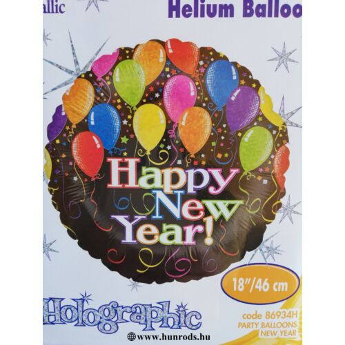 46 cm.-es Happy New Year fólia lufi hologramos