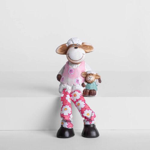 Kerámia bárány ülő barival lány QXC786021