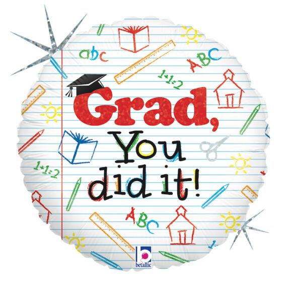 45 cm-es Grad You did it! feliratú, kerek fólia lufi