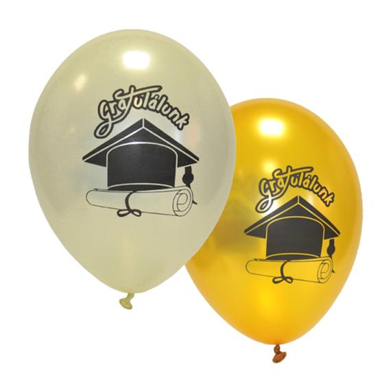 33 cm-es Gratulálunk! gyöngyház-arany színű színű gumi lufi 10db/cs.