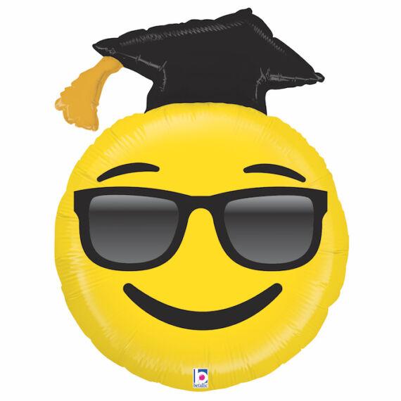 94 cm -es napszemüveges, ballagó kalapos Smiley fólia lufi