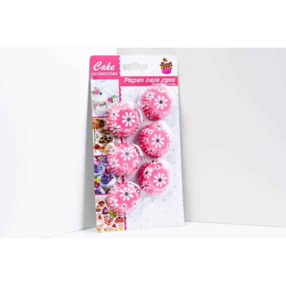 Pink alapon fehér virágok