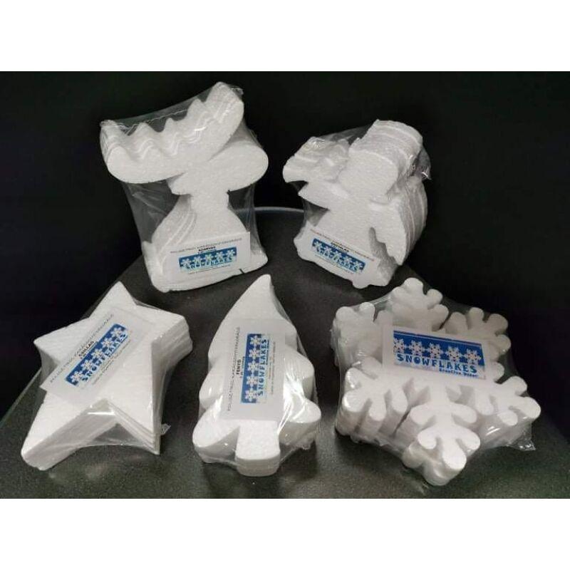 Polisztirol hópehely 8cm 12 darab/csomag