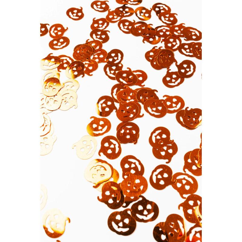 Csillogó narancs színű halloween-i tök konfetti dekoráció 15g
