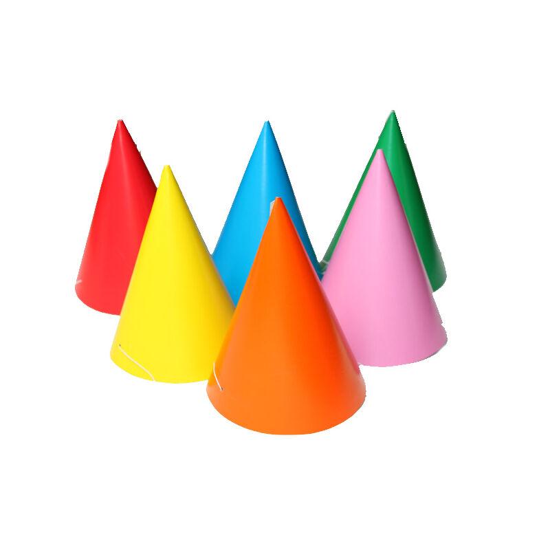 Party csúcsos kalap egyszínű 6 db/csomag