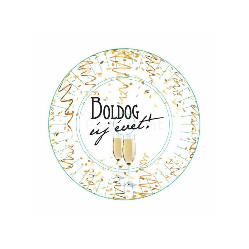 Boldog Új Évet feliratos tányér - 6 darabos
