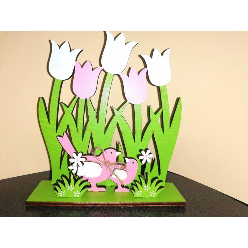 Rózsaszín-fehér tulipánnal