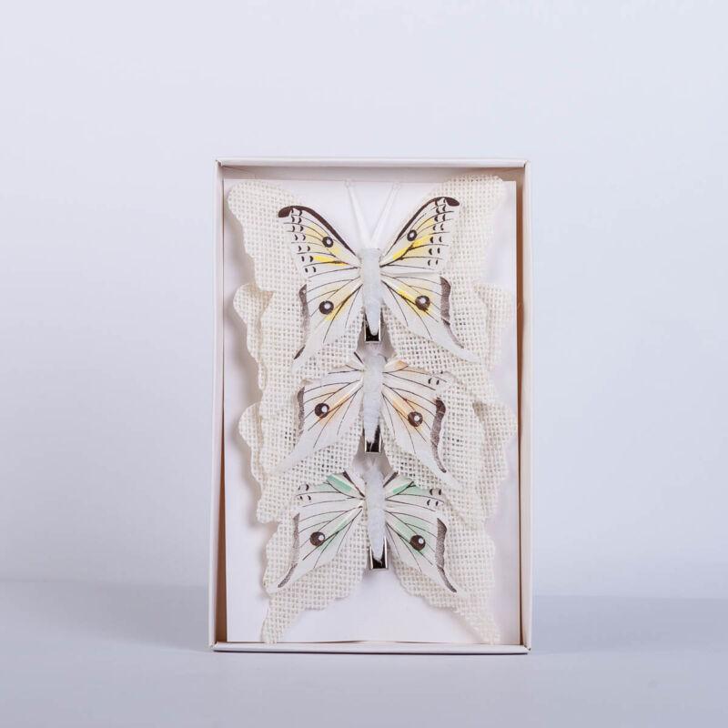 Dekorációs vászon pillangó csipesszel nagy (3 db) QT790073
