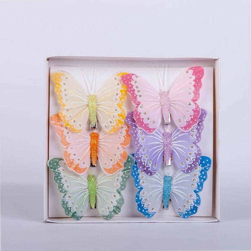 Dekorációs vászon pillangó csipesszel (6 db) QT790110