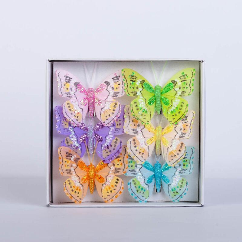 Dekorációs vászon pillangó csipesszel csillámporos (6 db) QT768157