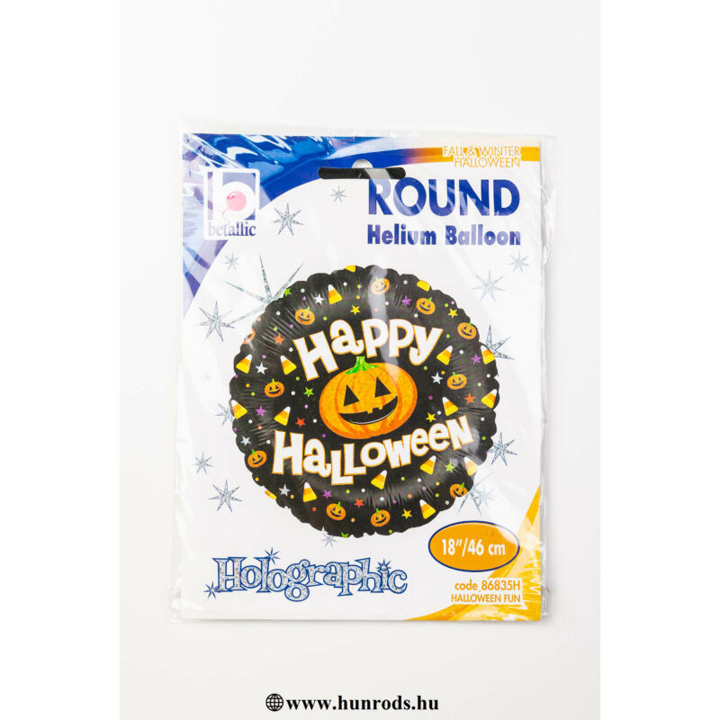 46 cm Happy Halloween feliratos, hologramos fólia lufi